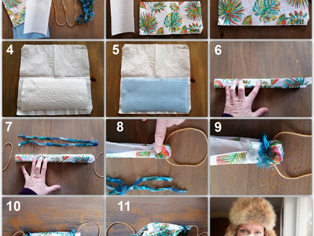 Paper napkin, paper towel and a J-cloth make it yourself masks.
