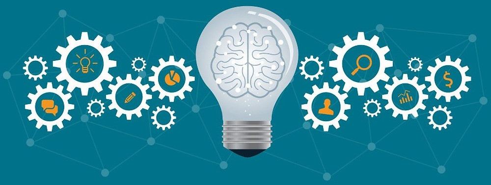 illustration with gears and a lightbulb with a brain in it signifying ideas