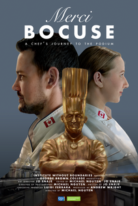 Two chefs, Trevor Ritchie and Jenna Reich stand back-to-back against a blue background. The Bocuse d'Or award trophy stands central. Bold white text reads 'Merci Bocuse.'