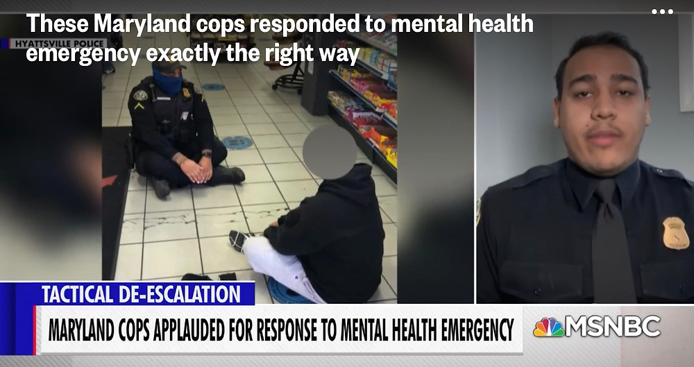 News report showing police properly responding to mental health emergency in Maryland.