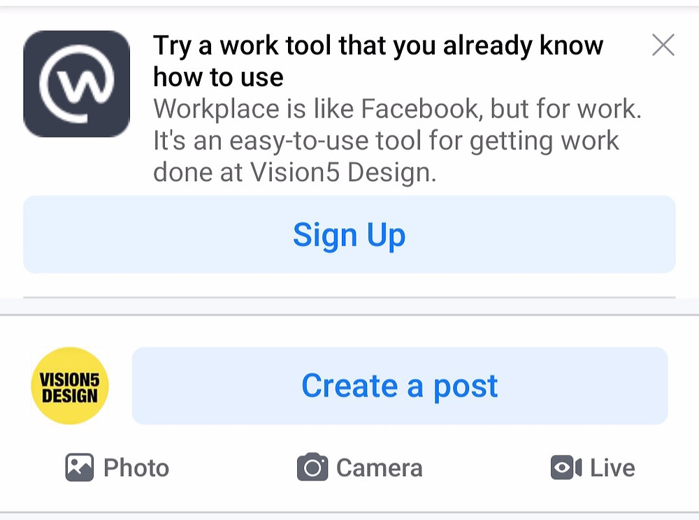 Facebook pushing us to it's another app workplace.