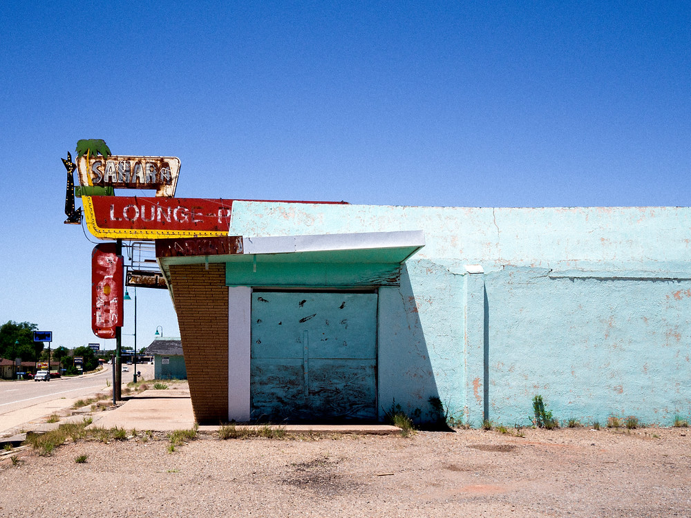 Dilapidated theater along Route 66 in New Mexico in the sun