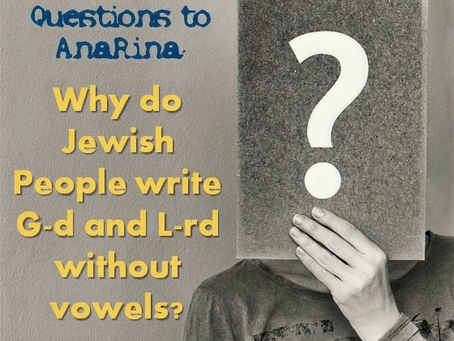 Why do Jews write G-d without vowels?