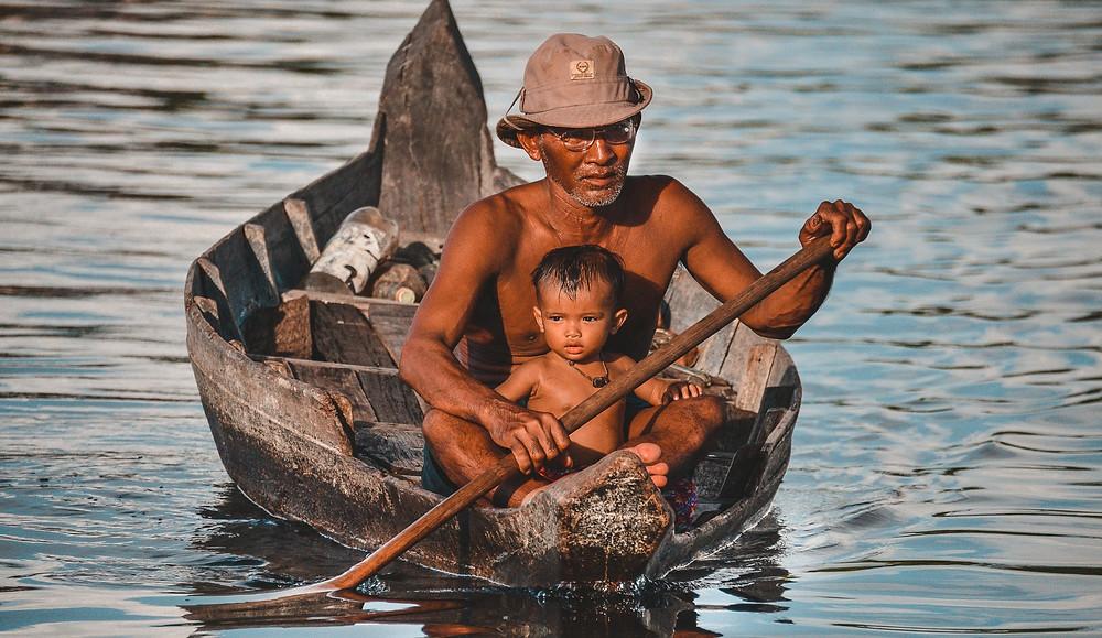 Cambodian Family Paddling
