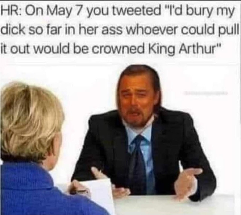 "HR: On May 7 You Tweeted ""I'd Bury My Dick so Far in Her Ass Whoever could Pull It Out would be Crowned King Arthur"