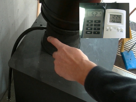 Measuring heat output when lighting a stove with a  Recoheat installed