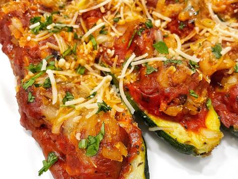 Vegan Meatball Zucchini Boats