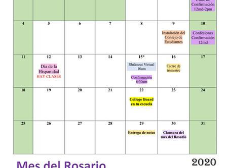 Calendario escolar: octubre 2020