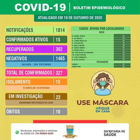 João Dourado: BOLETIM EPIDEMIOLÓGICO | 19 DE OUTUBRO DE 2020.