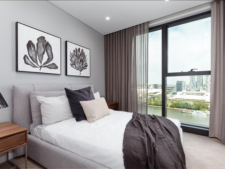 Curtains installed for this beautiful seaside apartment
