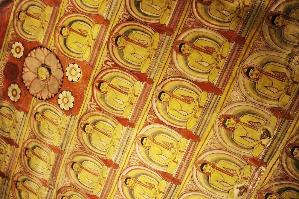 Plafond grottes Dambulla Sri Lanka
