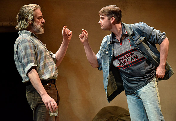 John O'Dowd as Mick and Liam Heslin as Mairtin in A Skull in Connemara at Oldham Coliseum 2019