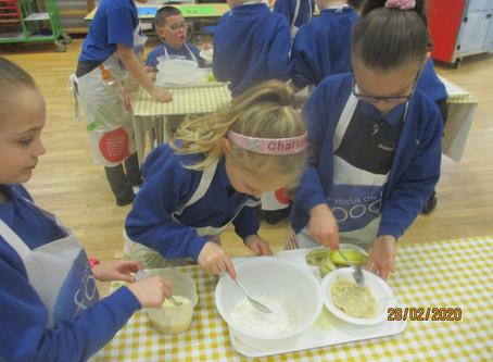 Banana pancake making! Year 3 developing their cooking knowledge and skills morning! Yum!