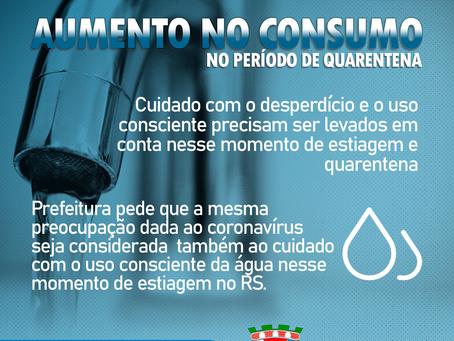 Prefeitura alerta para aumento no consumo de água no período de quarentena do Coronavírus