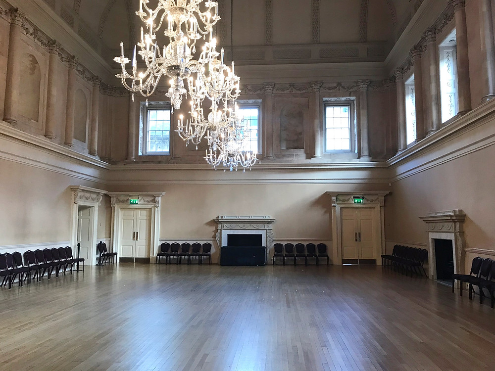 Inside one of the Assembly Rooms in Bath, England
