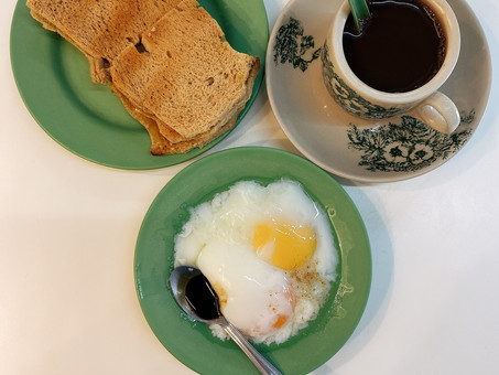 Singapore Hawker Food : Ya Kun Kaya Toast Bread, Half Boiled Eggs & Kopi