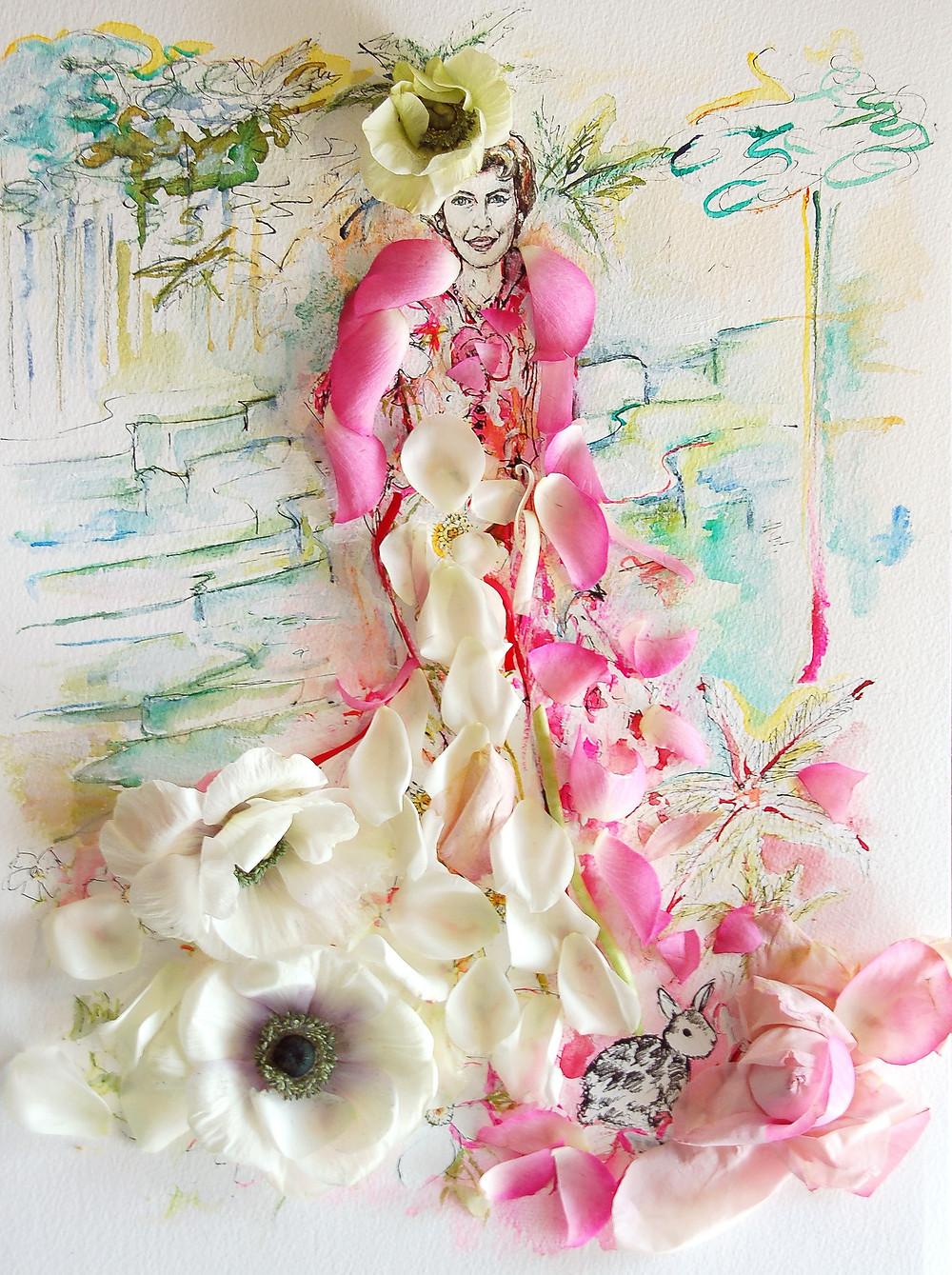 Illustratie met echte bloemen