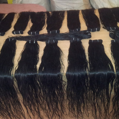 Remy human hair extensions from temple