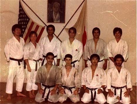 Sensei Shimoji & Rokah (2 leftmost front) with Sensei Nishiyama in back at the LA Central Dojo.