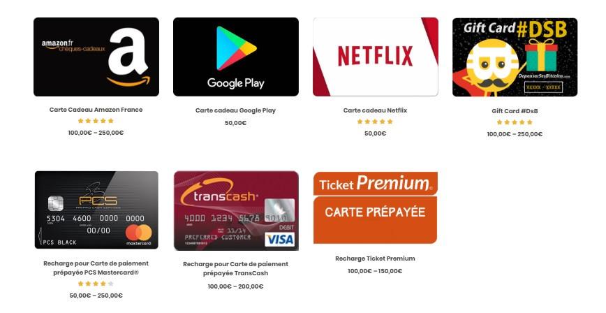 cartes cadeaux dépenser ses bitcoins