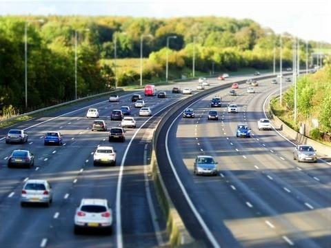 Motorway with multiple lanes