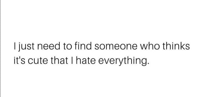 I just need to find someone who thinks it's cute that I hate everything Meme & Many More Relationship Memes