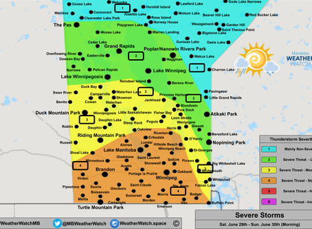 Damaging Winds and Large Hail Expected in Saskatchewan, Manitoba and Ontario; Isolated Tornadoes