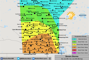 Thunderstorm Forecast, for Southern Manitoba. Issued June 29th, 2019.