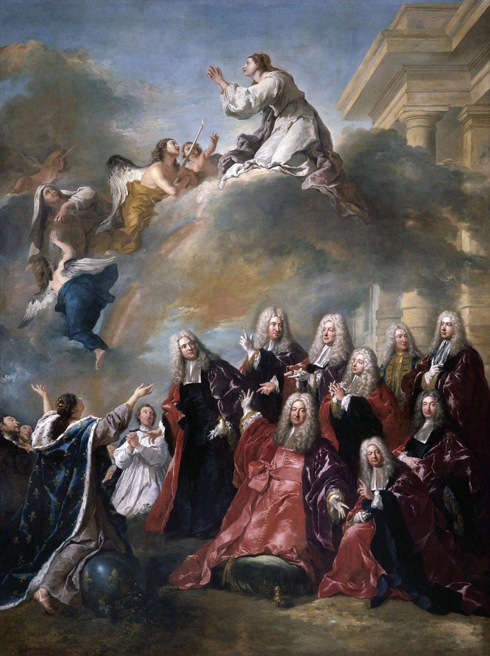 La France implore la protection de sainte Geneviève Jean-François de Troy (1726), église Saint-Étienne-du-Mont (Paris)