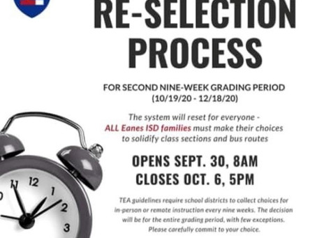 Eanes-ISD In-Person or Remote Re-Selection