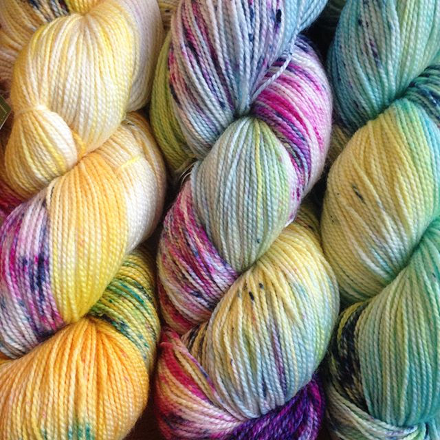Save 20-35% off gorgeous indie-dyed sock yarns like these skeins from Baah!