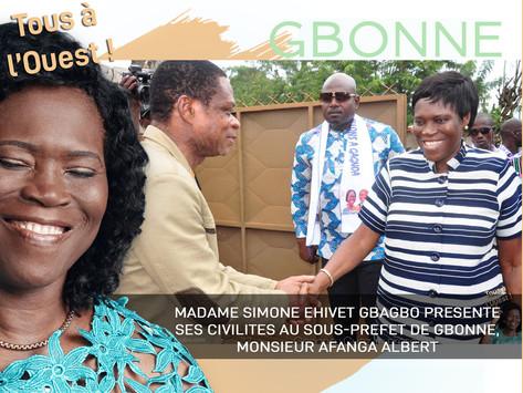 MADAME SIMONE EHIVET GBAGBO PRÉSENTE SES CIVILITÉS AU SOUS-PRÉFET DE GBONNE, MONSIEUR AFANGA ALBERT