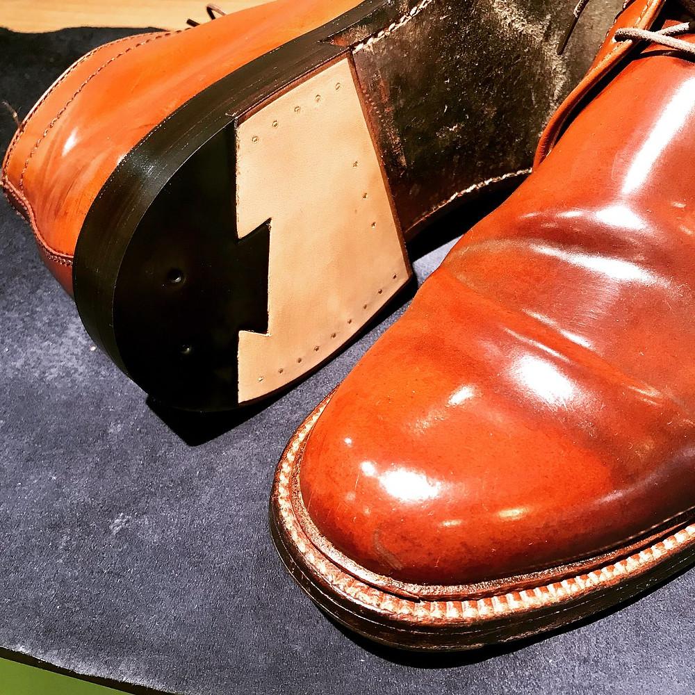 オールデン コードバン 靴修理 宅配 かかと交換