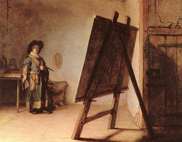 Rembrandt, Artist in his Studio, 1626