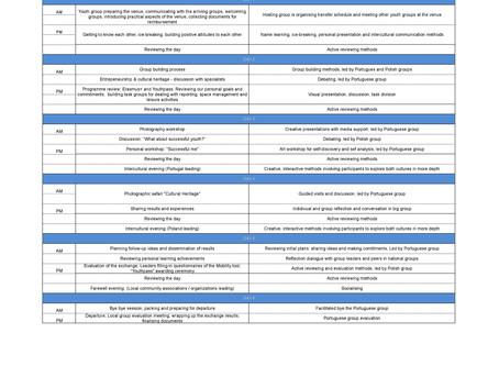ACTIVITY PROGRAMME - Draft 3