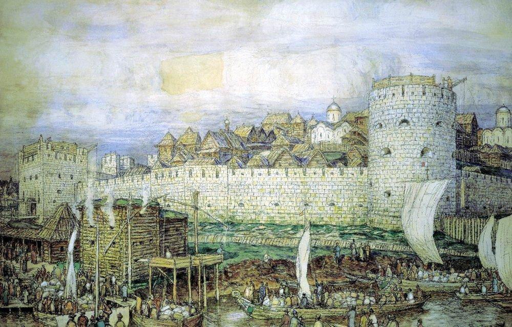 Московский Кремль при Дмитрии Донском ( Вероятный вид на Кремль Дмитрия Донского перед нашествием Тохтамыша в 1382 году ) 1922 год