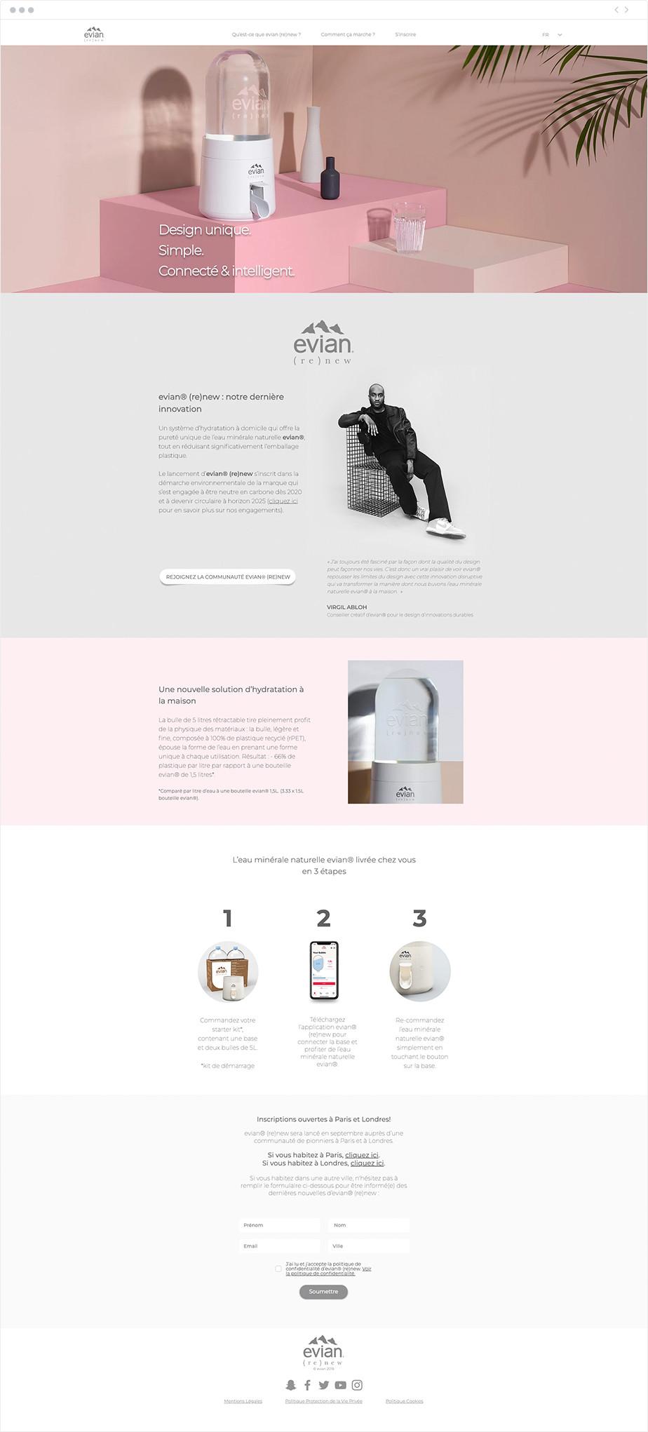 Exemple de site one-page - Evian