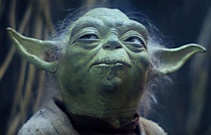 Yoda looking thoughtful with Dagobah's swamp in the background