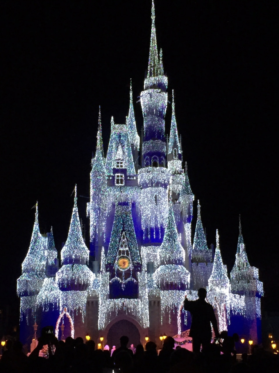 Disney's Frozen themed light show at Disney's Magic Kindgom