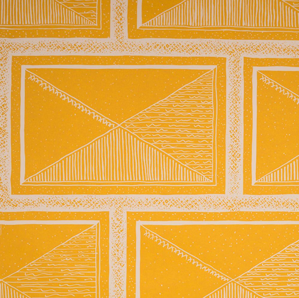 yellow wallpaper, Katie Ridder, wallpaper, fun wallpaper, carefree, yellow, geometric wallpaper