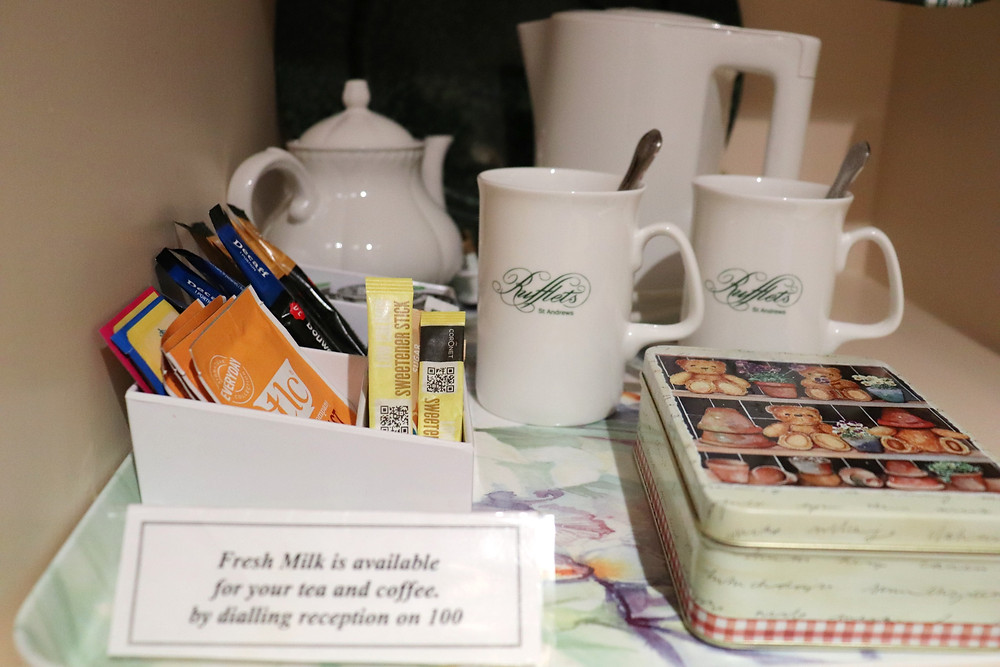Selection of tea and coffee in the room with shortbread rufflets hotel st andrews scotland
