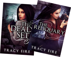 Covers of The Dead Set and The Reliquary novels by Tracy Eire, showing Hispanic heroine, Six Soto.