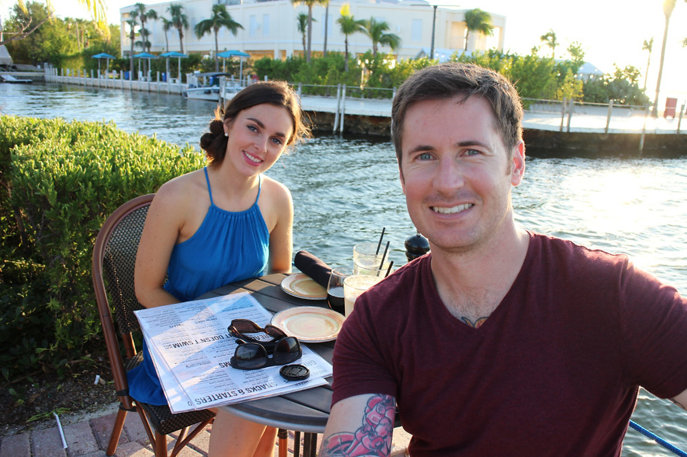 A couple celebrate romance in the Florida Keys with dinner at Sundowners of Key Largo