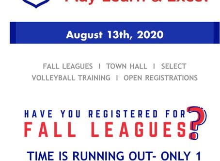 WAYA Fall Leagues-Register Now !!!