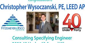 Christopher Wysoczanski, PE, LEED AP, Awarded Consulting-Specifying Engineer's 2020 40 Under 40