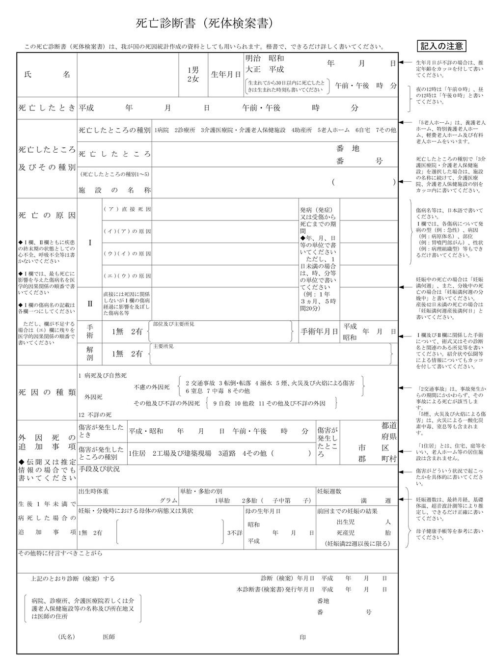 死亡診断書イメージ