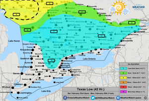 Freezing Rain Forecast, for Southern Ontario. Issued: February 23rd, 2019.