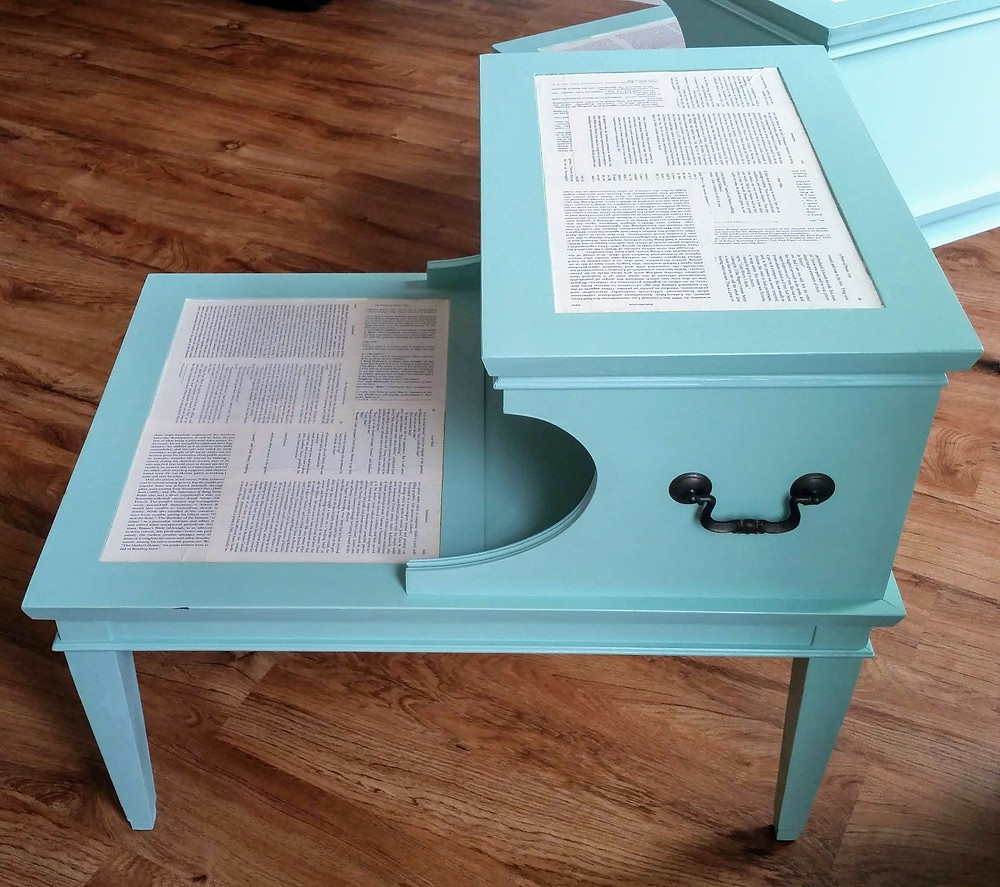 Chalk painted side table with book page insets