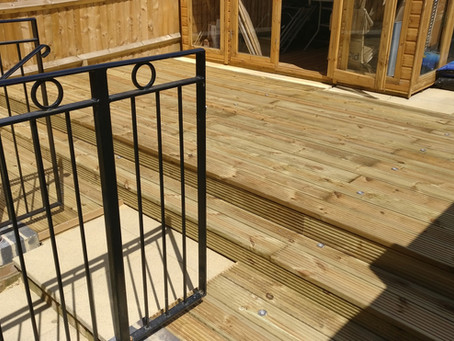 Decking with steps and inset LED lights