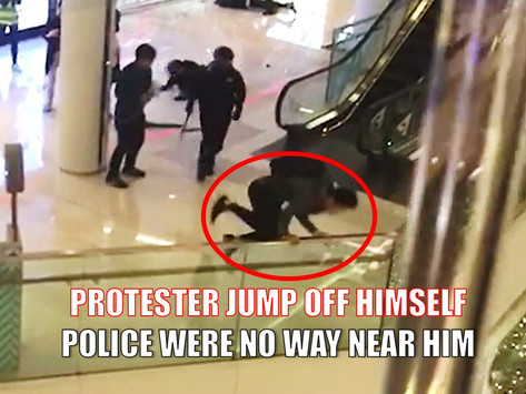Protester jump off second floor  himself at Yoho mall to avoid arrest and trial.